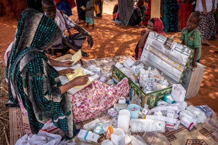 Pharmacist Amina Mahamed has prepared the pharmacy supplies and medication, on the day she mostly hands out antibiotics and antenatal care routine medication to pregnant women.